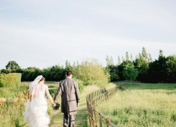 Wedding couple walking away